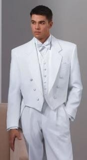 Collar 6 Buttons Pleated Pants Six button Full Dress Formal Tuxedo Tailcoat in Solid Snow All White