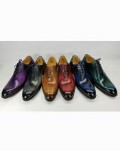 Mens Carrucci Luxury Leather Polished Lace Up Style 6 Color Shoes