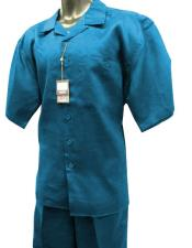 Mens Sky Baby Blue Short Sleeve 2 Piece Solid Linen Casual Two Piece Walking Outfit For Sale