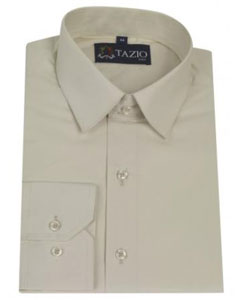 Slim Fit Cream Mens Dress Shirt