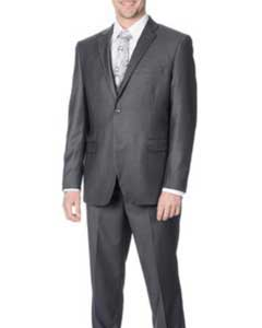 Double Notch Lapel Grey Flat-frontes Trousers Suit