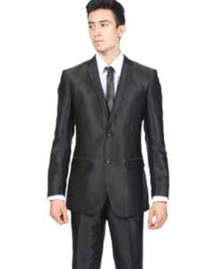 Slim Fit Shiny Black Sharkskin Suit