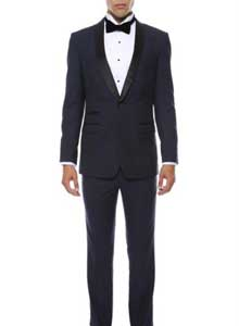 Mens Navy Blue With Black 2pc Shawl Collar Tuxedo