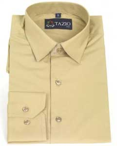 Fit -Tan Mens Dress Shirt