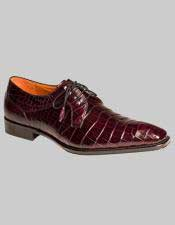 Mens Mezlan Genuine World Best Alligator ~ Gator Skin Spain Burgundy