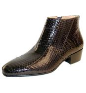 Brown Snakeskin Cuban Heel