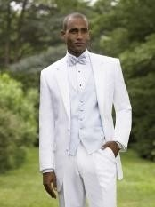 White Notch Lapel Tuxedo single breasted styling with a non-vented back