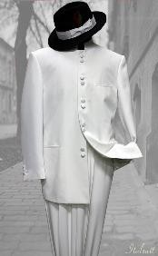 Color White Mandarin Collar