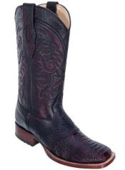 Los Altos Black Cherry Ostrich Leg Wide Square Toe Boots W/