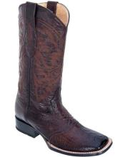 Los Altos Burnished Brown Ostrich Leg W/ Saddle Vamp Wide Square