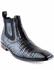Mens Caiman Belly Skin Leather Square Toe Short Black Boots