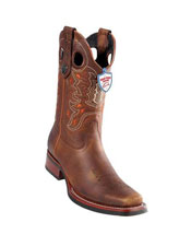 Handmade Wild West Genuine Rage Cowboy Leather Square Toe Walnut Boots