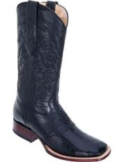 Los Altos Wide Square Toe Genuine Ostrich Leg Boots W/ Saddle