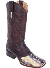 Los Altos Boots  Ostrich Leg W/ Saddle Vamp Wide Square