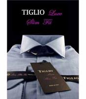 Tiglio Luxe Mens Slim Fit Cotton Standard Cuff Solid Blue Dress Shirt