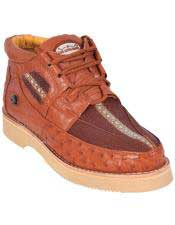 Genuine COGNAC With Ostrich Casual Shoes Lace Up EE