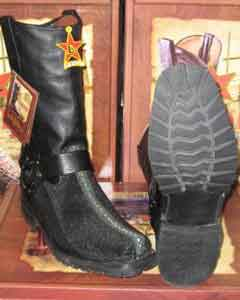 Western Cowboy Black motorcycle Bikers Boot ~ Los Altos Stingray mantarraya