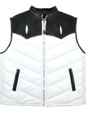 Mens Genuine Stingray White/Black Zipper Vest