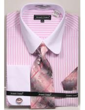 Tab Collared French Cuffed Pink Shirt with Tie/Hanky/Cufflink Set Mens Dress