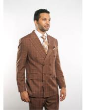 Plaid ~ Windowpane Can be Blazer or Sport Coat Pattern Double Breasted Light Brown Peak Lapel Button