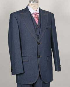 Mens Stylish Two Button Blue Suit Peak Lapel Vested Denim~Jean~Cotton wide leg