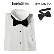 Mens Stylish Tuxedo Dress Shirt Wing Collar with Bow-Tie Set White