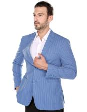 summer Blue textured pinstripe