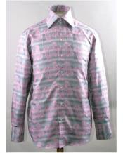 Pink High Collar Swirl Pattern Shiny Shirt Night Club Outfit guys