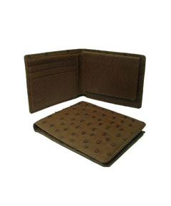 Genuine Exotic Animal Skin Ostrich Wallet - Kango Tabac ID Holder Bifold