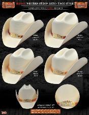 Tejana Taco Style Western Cowboy Straw Hat