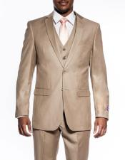 3 piece slim fit wedding prom Tan ~ Beige vested suit