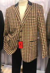 Mens Tan / Brown Gingham Pattern  Blazer ~ Sportcoat ~ Jacket