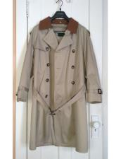 Mens Tan Classic Contrasting collar Long Trench Coat