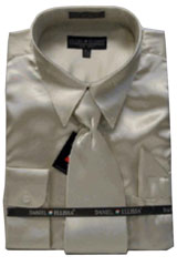 Cheap Sale Mens New Tan ~ Beige Satin Dress Shirt Tie