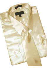Cheap Sale Satin Tan ~ Beige Dress Shirt Combinations Set Tie