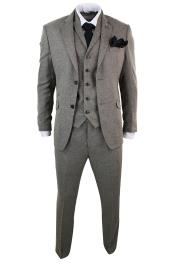 Mens Classic Retro Vintage Two Button Tan Herringbone Tweed 3 Piece Tailored Fit Suit