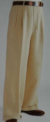 ~ Beige Wide Leg Dress Pants Pleated baggy dress trousers unhemmed