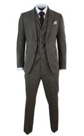 Mens Wool Blend Tan Three Piece Tailored Fit Herringbone Tweed Vested Vintage Suit