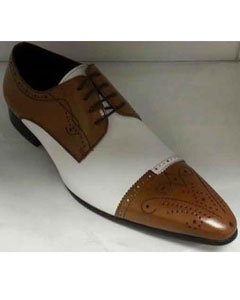 Brand Mens Genuine Leather Lace Up Shoes Tan/White