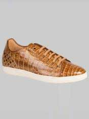 Brand Taupe ~ Beige Genuine Crocodile Lace-up Sneakers