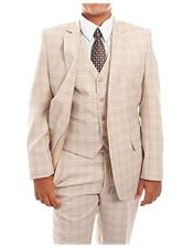 3-Piece checkered check pattern Tuxedo Taupe Suit Set With Matching Shirt