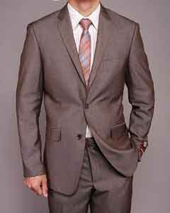Mens Taupe  styling Slim-fit Suit