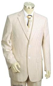 Mens 3pc 100% Cotton Seersucker Sear sucker suit Taupe - High End