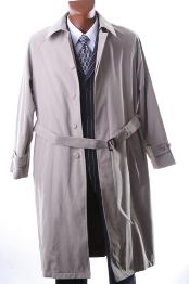 Dress Coat IRENE05 Mens Taupe Full Length All Year Round Raincoat-Trench