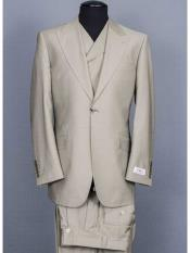 Tiglio Brand Taupe 3 Piece Big Peak Lapel 1 Button Suit Vested Wide Leg Pants 100% Wool