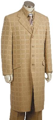 Mens 3 Piece Fashion Zoot Suit in Plaid Windowpane Taupe