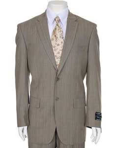 Mens Light Beige ~ Tan ~ Taupe Stripe ~ Pinstripe 2-Button Suit