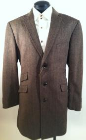 Three Quarters Length Mens Dress Coat Luxurious Wool & Cashmere Mens Car