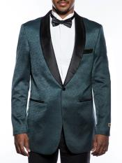 Mens Fancy Designed Teal Shawl Lapel Tuxedo Blazer
