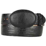 Lizard Teju Skin Western Style Belt Black